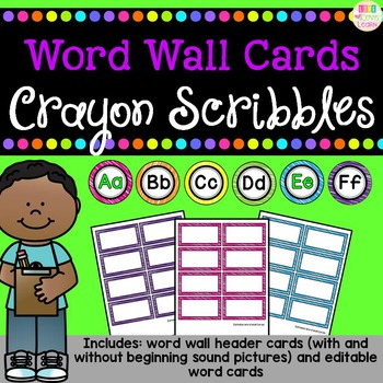 http://www.teacherspayteachers.com/Product/Word-Wall-Header-and-Editable-Word-Cards-Crayon-Scribbles-Pattern-1299304