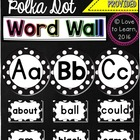 Word Wall Headers & 200 Words - Black & White Polka Dot
