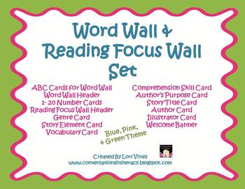 Word Wall and Reading Focus Wall Classroom Set in Pink, Bl