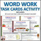 Word Work Activity Cards Common Core Aligned