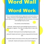 Word Work Word Wall/High Frequency Words