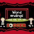 Word sort center for -nk -nd -st, nt endings