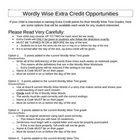 Wordly Wise Extra Credit Choices