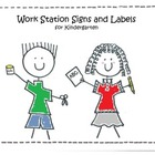 Work Station Signs and Labels for Kindergarten