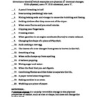 Worksheet: Physical Vs Chemical Changes