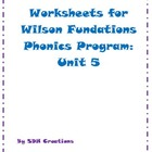 Worksheets for Wilson Fundations Phonics Program: Unit 5 (