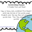 World Map Puzzle {FREEBIE}