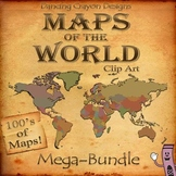 World Maps: MEGA BUNDLE Clip Art Countries and Maps of the World