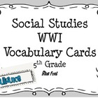 World War I Vocabulary Cards
