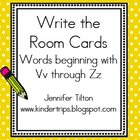 Write the Room Picture & Word Cards for letters Vv through Zz