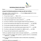 Writer's Craft Self Editing Checklist with Page Numbers Gr 6