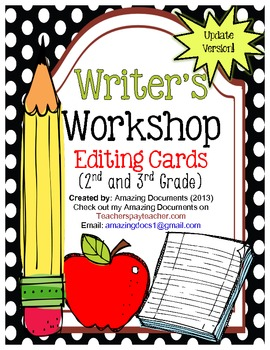 Writers Workshop - Editing Cards (2nd and 3rd Grade)