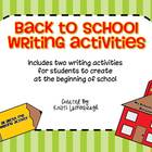 Writing Activities for Back To School
