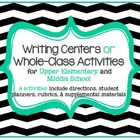 Writing Center or Activity Set of 4 w/ rubric for Elementa