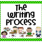 Stick Figure Writing Process Posters - Bright Green with B