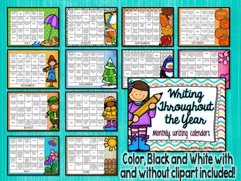 Writing Throughout the Year~monthly calendar prompts