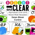ZB Cursive Alphabet Line and Word Wall Headers (Bright & C