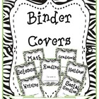 Zebra Binder Covers with binder spines