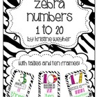 Zebra Numbers Posters 1 to 20 Tallies Ten Frames