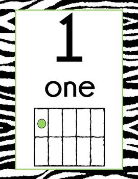 Zebra Print Number Display Signs