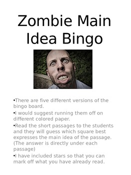 Zombie Main Idea Bingo
