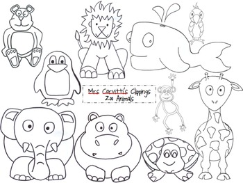 Zoo Animal Black and White ClippingsZoo Clip Art Black And White