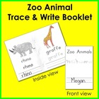 Zoo Animal Trace and Write Booklet {Back-to-School FREEBIE}