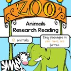 Zoo Animals Research Reading