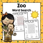 Zoo Animals Word Search {FREE}