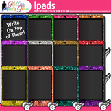 iPad Tablets w/Earbuds Dipped in Glitter Clipart - Music,