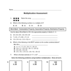 multiplication assessment / test / pre-test and/or post-test