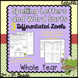 Spelling words and letters - whole year for 3 differentiat