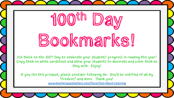 100th Day Bookmarks Freebie!