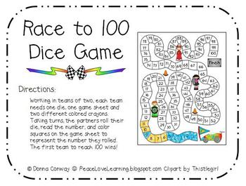 100th Day Math - Race to 100