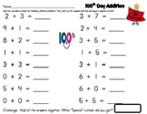 100th Day Math...Addition Problems That The Answers Add Up