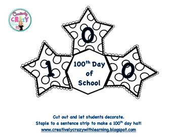 100th Day of School Hat FREEBIE!