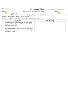 12 Angry Man: Evidence Worksheet