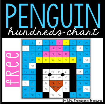 Hundreds Chart Mystery Picture FREEBIE - Penguin