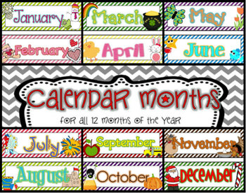 12 Month Calendar Headers