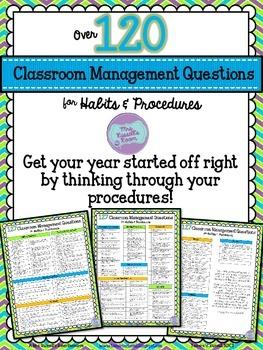 127 Classroom Management Questions{FREEBIE}