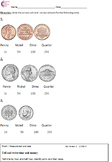 1.MD.3 Money Identifying Coins First Grade Math Common Cor