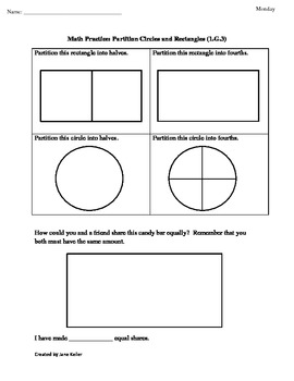 1st Grade Common Core Geometry Worksheet: Partition Rectan