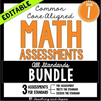 1st Grade Common Core Math Assessment - ALL STANDARDS (3 t