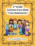 """1st Grade Common Core Math """"I Can Statements"""""""