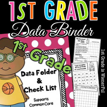1st Grade Data Folder - Binder Check List~supports Common Core!  Editable pages!