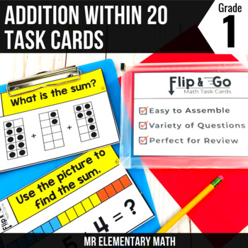1st Grade Math Addition within 20 - Flip and Go Cards