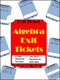 20 Exit Tickets - Solving Algebraic Equations
