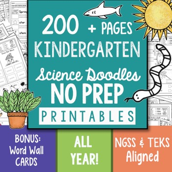 200+  Page NO PREP Science Kindergarten Printables Full Year by Science Doodles