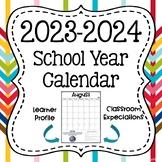 2015-2016 School Year Calendar with Monthly IB Attitudes