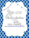 2013-2014 School Calendar (Editable)